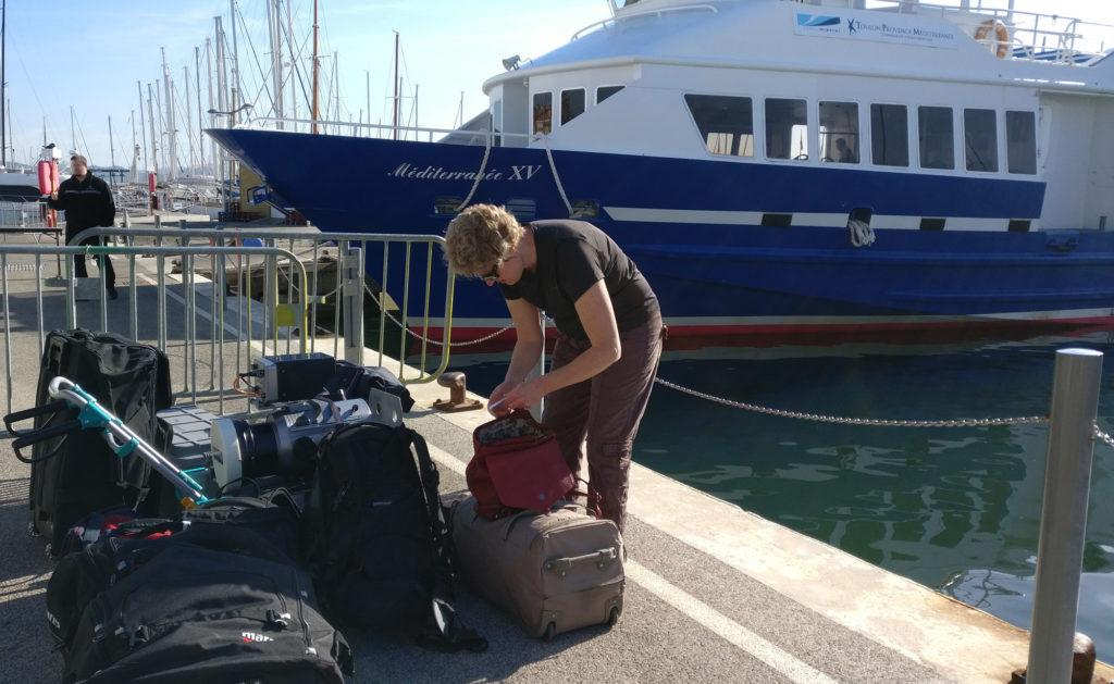Photo de Patou à l'embarquement du bateau de Port-Cros